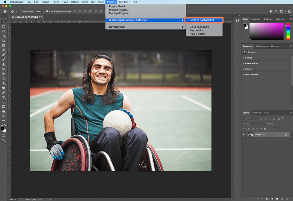 Remove background in Photoshop with remove.bg plugin