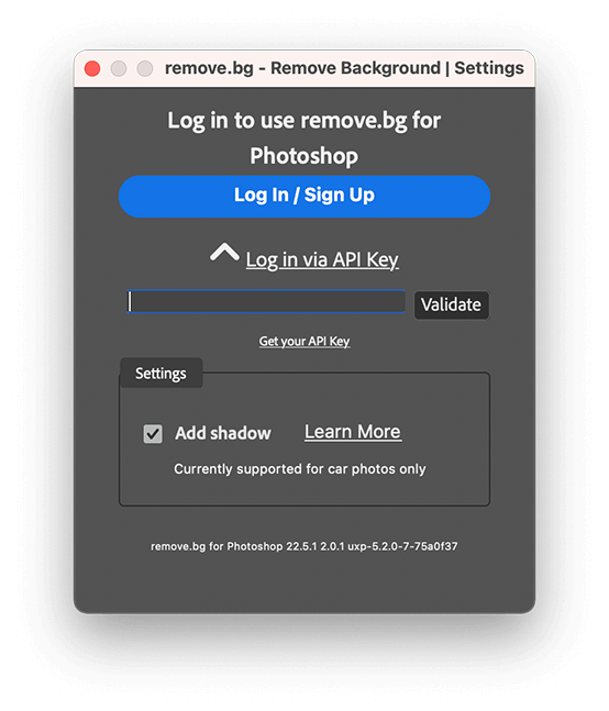 Enter the API key and click Validate.