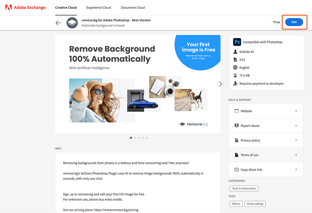 find the remove.bg plugin for Photoshop in Adobe Exchange.