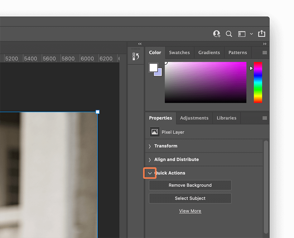 Select the Quick Actions drop-down in Photoshop